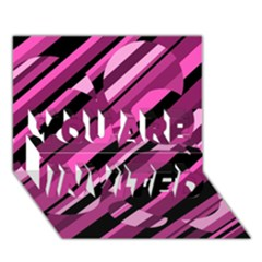 Magenta pattern YOU ARE INVITED 3D Greeting Card (7x5)