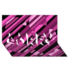 Magenta pattern SORRY 3D Greeting Card (8x4)