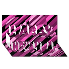 Magenta pattern Happy New Year 3D Greeting Card (8x4)