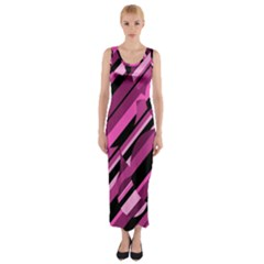 Magenta Pattern Fitted Maxi Dress