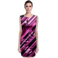 Magenta Pattern Classic Sleeveless Midi Dress