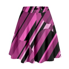 Magenta pattern High Waist Skirt