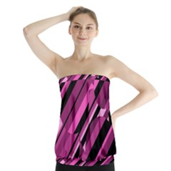 Magenta pattern Strapless Top
