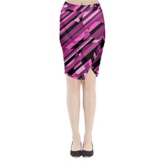 Magenta pattern Midi Wrap Pencil Skirt