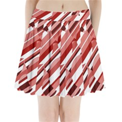 Orange Pattern Pleated Mini Mesh Skirt