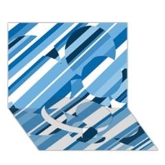 Blue pattern Circle Bottom 3D Greeting Card (7x5)