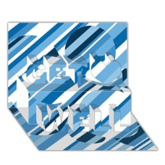 Blue pattern Get Well 3D Greeting Card (7x5)