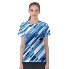 Blue pattern Women s Sport Mesh Tee