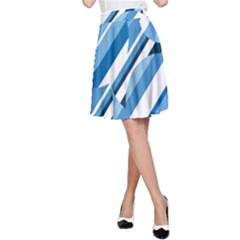 Blue pattern A-Line Skirt