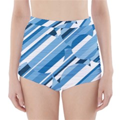Blue pattern High-Waisted Bikini Bottoms