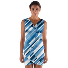 Blue Pattern Wrap Front Bodycon Dress