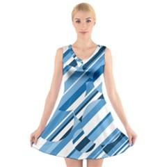Blue pattern V-Neck Sleeveless Skater Dress