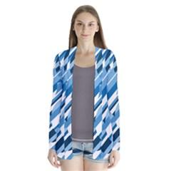 Blue pattern Drape Collar Cardigan