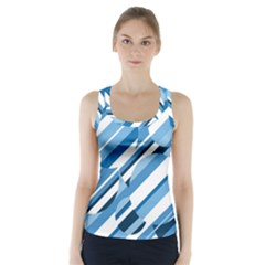 Blue Pattern Racer Back Sports Top