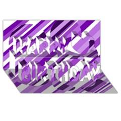 Purple pattern Happy Birthday 3D Greeting Card (8x4)