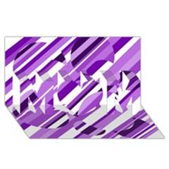 Purple pattern MOM 3D Greeting Card (8x4)
