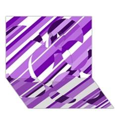 Purple pattern Apple 3D Greeting Card (7x5)