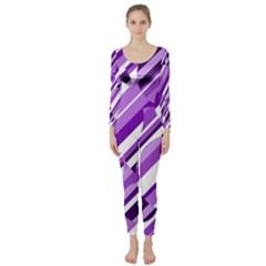 Purple pattern Long Sleeve Catsuit