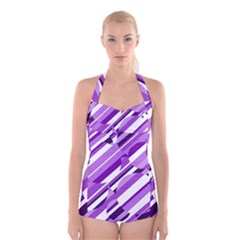 Purple pattern Boyleg Halter Swimsuit