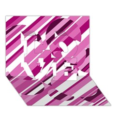 Magenta pattern LOVE 3D Greeting Card (7x5)