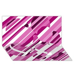 Magenta pattern Twin Heart Bottom 3D Greeting Card (8x4)
