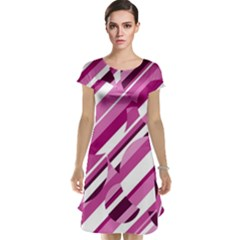 Magenta pattern Cap Sleeve Nightdress