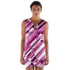 Magenta pattern Wrap Front Bodycon Dress