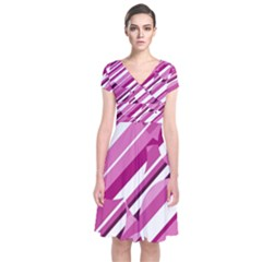 Magenta Pattern Short Sleeve Front Wrap Dress