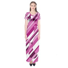 Magenta pattern Short Sleeve Maxi Dress