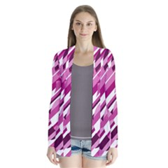 Magenta pattern Drape Collar Cardigan
