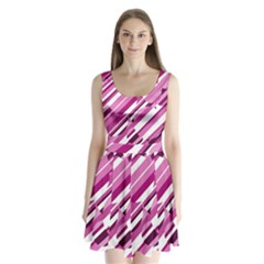 Magenta pattern Split Back Mini Dress