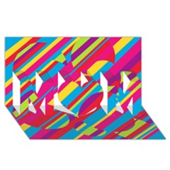 Colorful summer pattern MOM 3D Greeting Card (8x4)