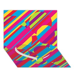 Colorful summer pattern Heart Bottom 3D Greeting Card (7x5)
