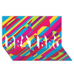 Colorful summer pattern BEST BRO 3D Greeting Card (8x4)