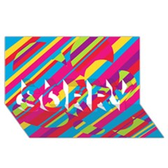 Colorful summer pattern SORRY 3D Greeting Card (8x4)