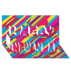 Colorful summer pattern Happy New Year 3D Greeting Card (8x4)