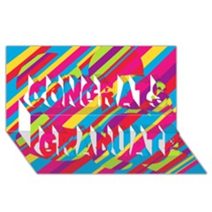 Colorful summer pattern Congrats Graduate 3D Greeting Card (8x4)