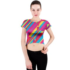 Colorful summer pattern Crew Neck Crop Top