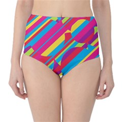 Colorful summer pattern High-Waist Bikini Bottoms