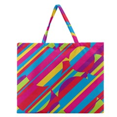 Colorful summer pattern Zipper Large Tote Bag