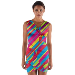 Colorful Summer Pattern Wrap Front Bodycon Dress