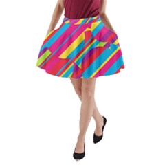 Colorful Summer Pattern A Line Pocket Skirt