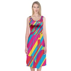 Colorful summer pattern Midi Sleeveless Dress