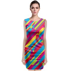 Colorful Summer Pattern Classic Sleeveless Midi Dress