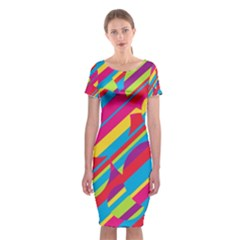 Colorful summer pattern Classic Short Sleeve Midi Dress
