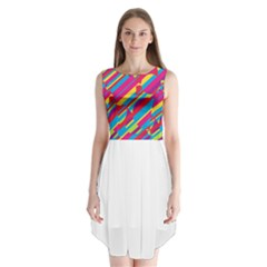 Colorful summer pattern Sleeveless Chiffon Dress