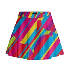 Colorful Summer Pattern Mini Flare Skirt