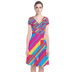 Colorful summer pattern Short Sleeve Front Wrap Dress