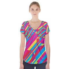 Colorful summer pattern Short Sleeve Front Detail Top