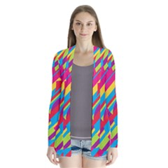 Colorful summer pattern Drape Collar Cardigan